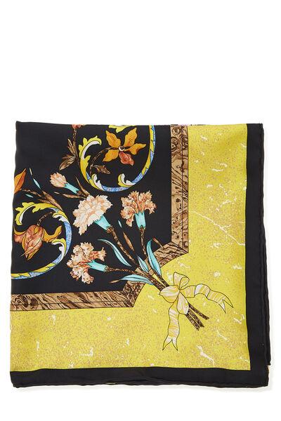 Black & Multicolor 'Pierres d'Orient et d'Occident' Silk Scarf 90, , large