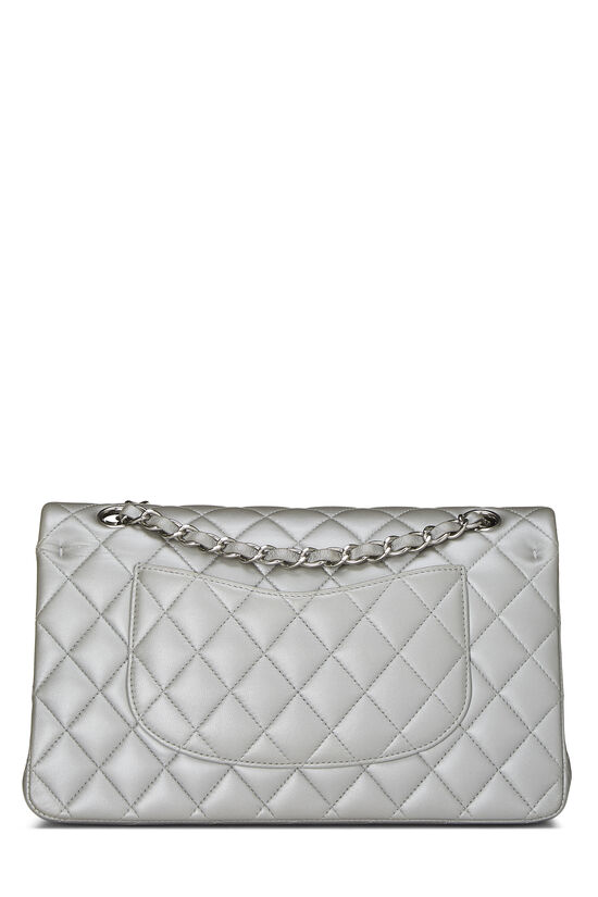Metallic Silver Quilted Lambskin Classic Double Flap Medium, , large image number 3