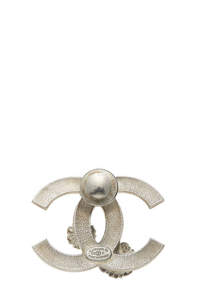 Silver Crystal & Flower 'CC' Pin, , large