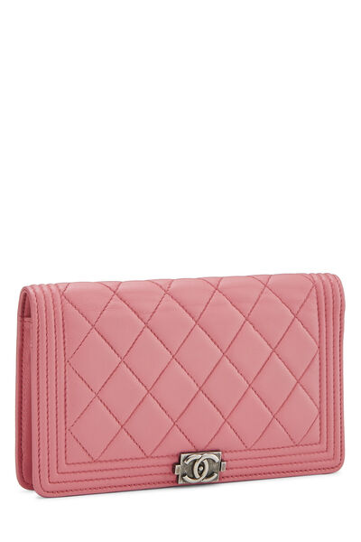 Pink Quilted Lambskin Boy Wallet, , large