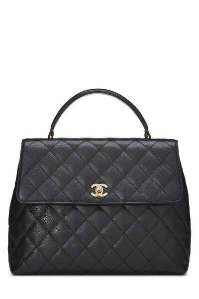 Black Quilted Caviar Kelly Jumbo