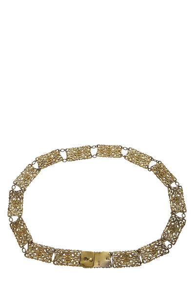 Red Beaded & Gold Filigree Chain Belt, , large
