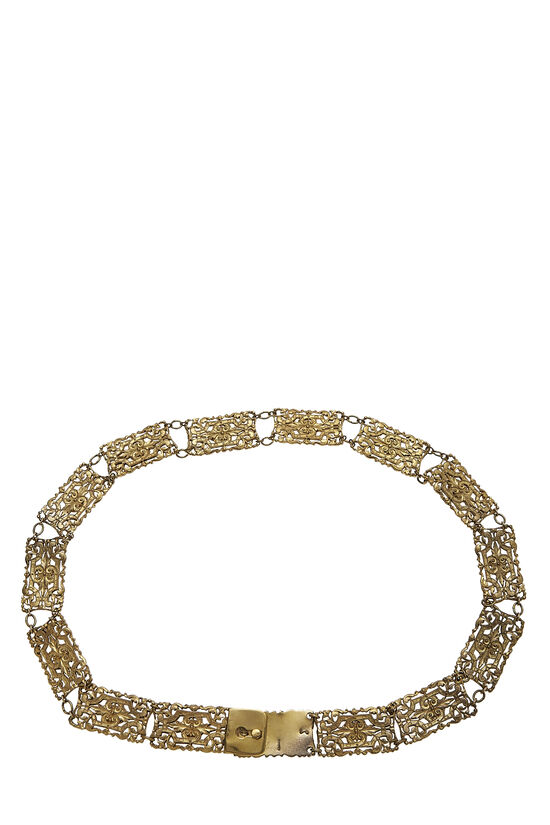 Red Beaded & Gold Filigree Chain Belt, , large image number 1