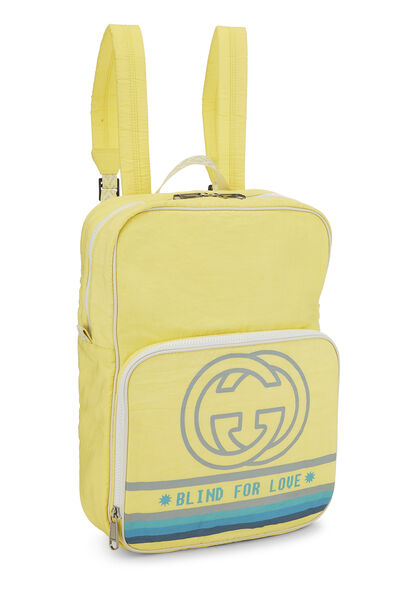 Yellow Nylon GG Backpack, , large