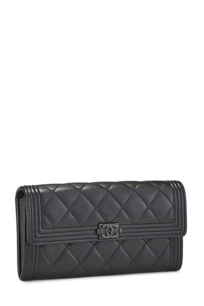 Black Quilted Caviar Boy Wallet, , large