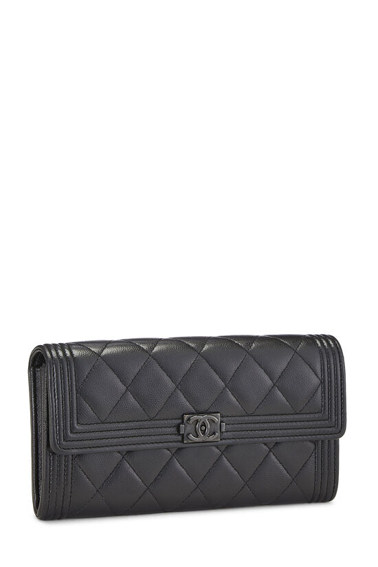 Black Quilted Caviar Boy Wallet, , large image number 1