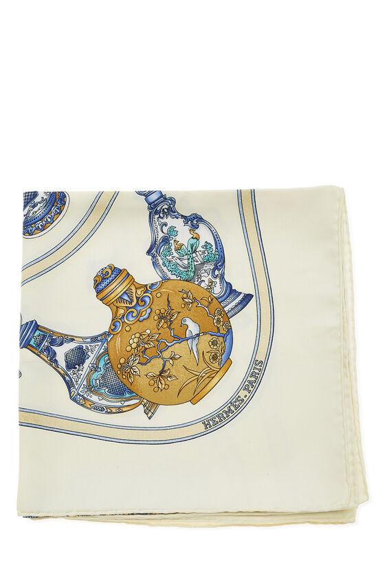 Cream & Multicolor 'Qu' Importe le Flacon' Silk Scarf 90, , large image number 1