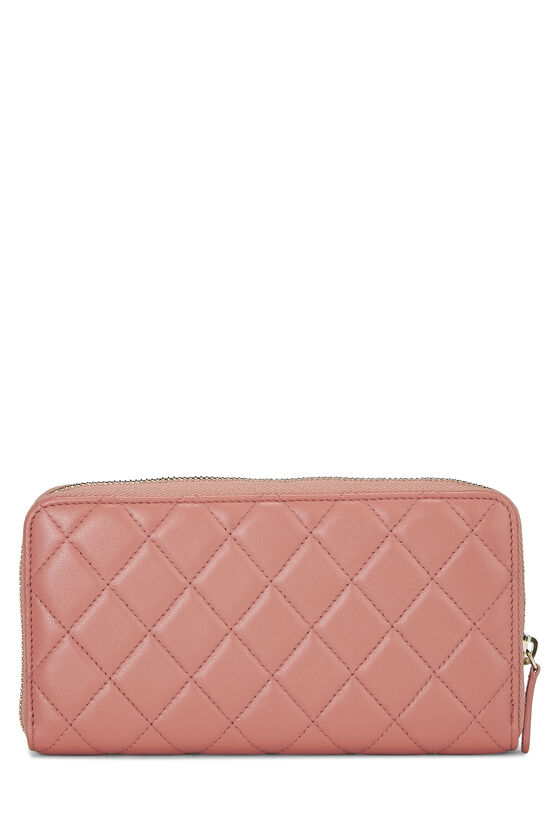 Pink Quilted Lambskin Zip Wallet, , large image number 2