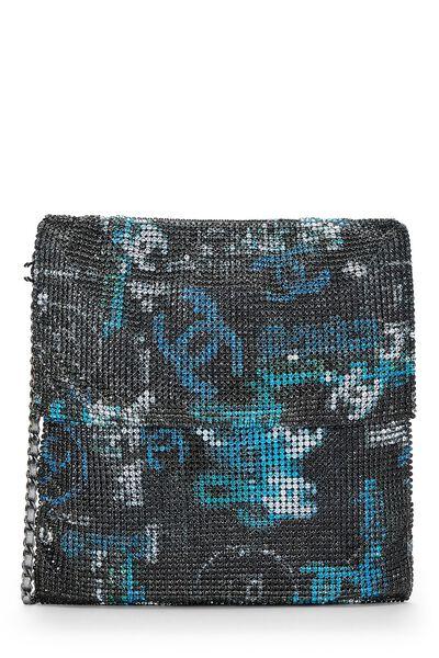 Grey & Blue Graffiti Rhinestone Chain Mail Bag