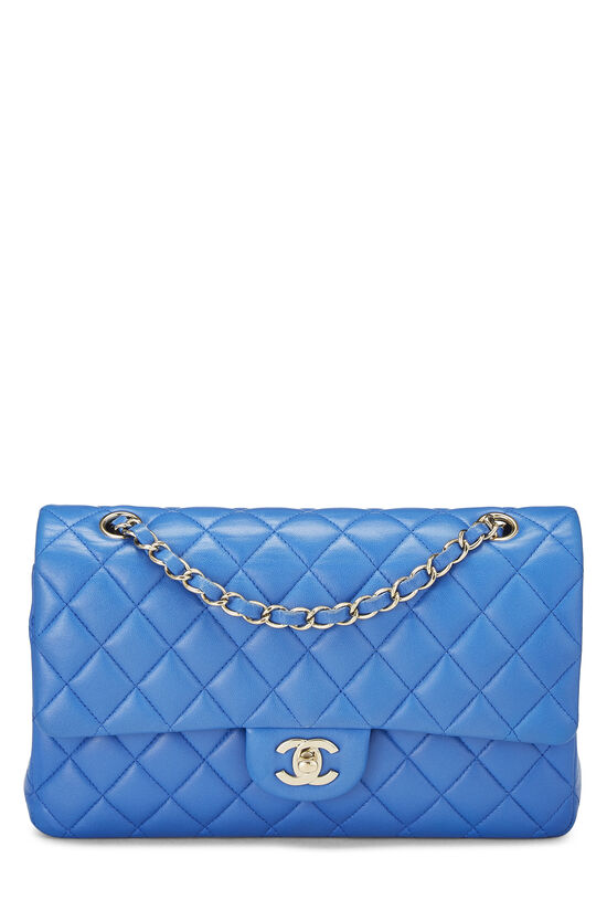 Blue Quilted Lambskin Classic Double Flap Medium, , large image number 0