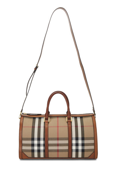 Brown House Check Canvas Weekend Bandouliere, , large