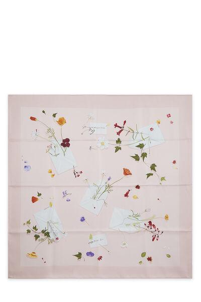 Pink & Multicolor 'Des Fleurs Pour le Dire' Silk Scarf 90