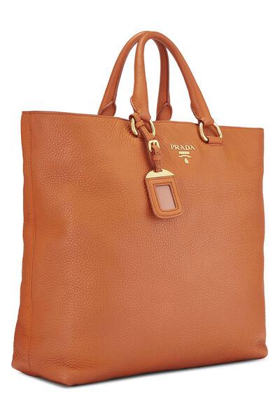 Orange Vitello Daino Shopping Tote, , large