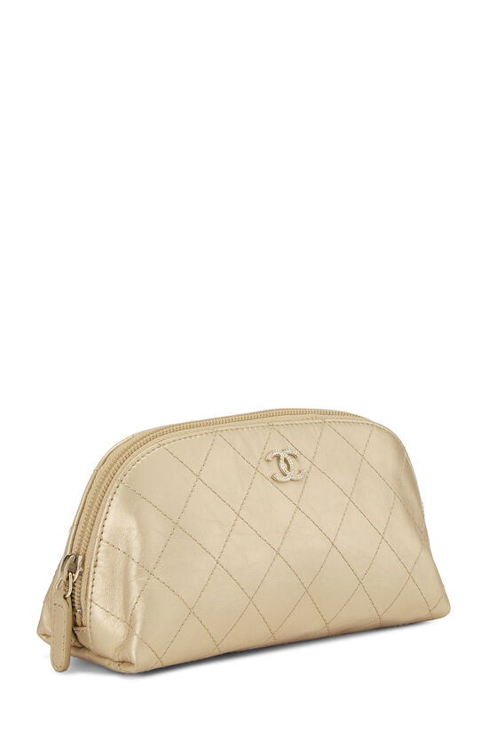 Gold Quilted Calfskin Cosmetic Pouch Small, , large image number 2