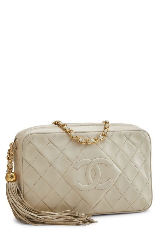 Cream Quilted Lambskin 'CC' Camera Bag Large, , large image number 2