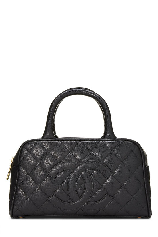 Black Quilted Caviar Bowler Small, , large image number 0