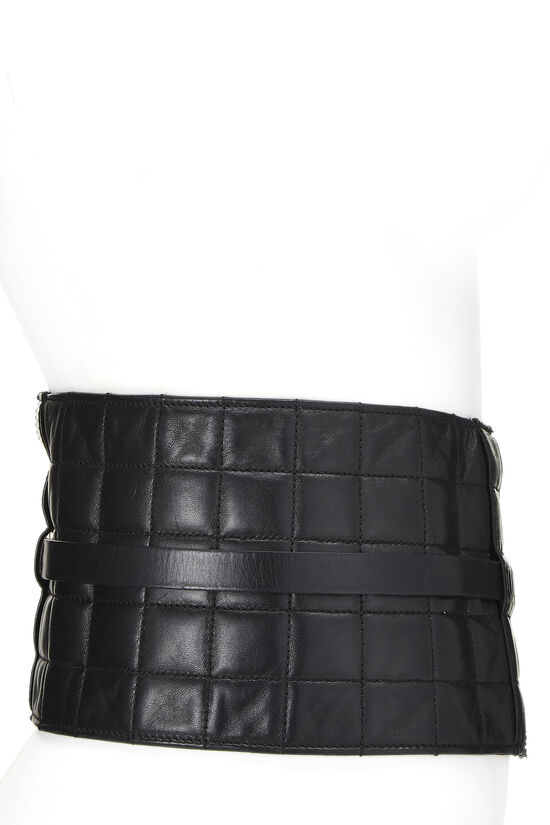 Black Lambskin Chocolate Bar Belt 75, , large image number 2