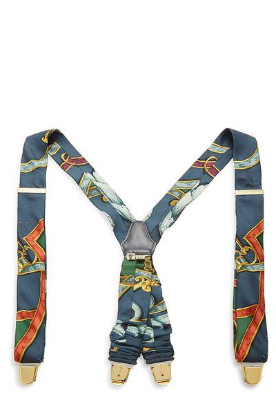 Blue & Multicolor Silk Motif Suspenders
