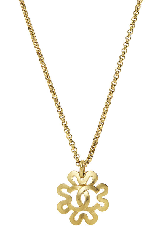 Gold Squiggle Border 'CC' Necklace, , large image number 1