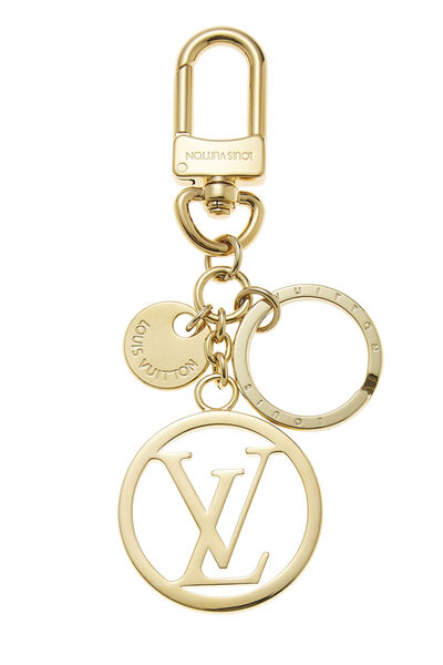 Gold Circle Monogram Bag Charm
