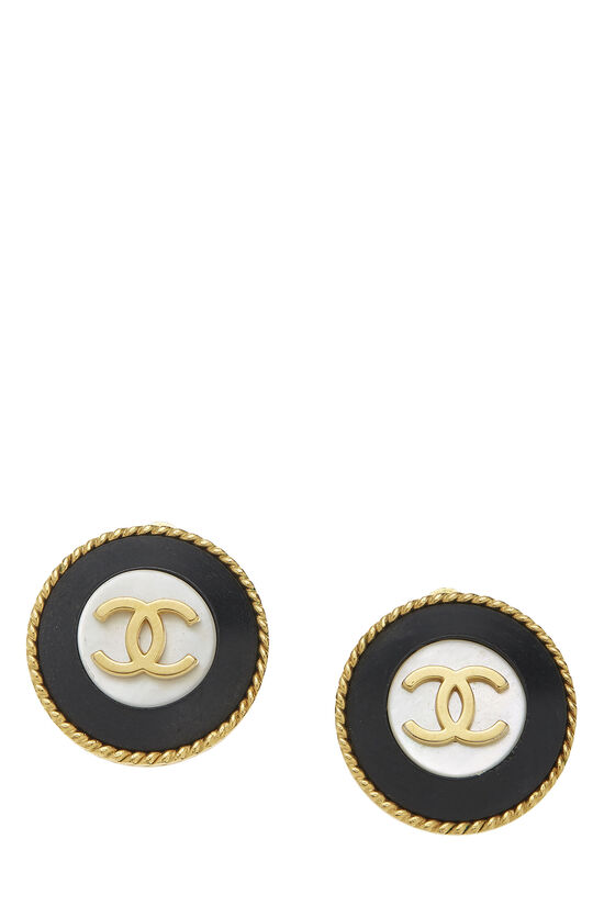 Gold & Black 'CC' Round Earrings, , large image number 0