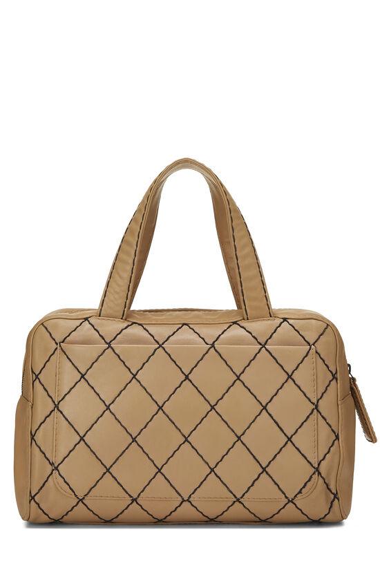 Beige Leather Wild Stitch Boston Bag, , large image number 3