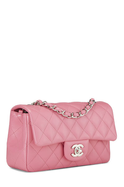Pink Quilted Lambskin Rectangular Flap Mini, , large