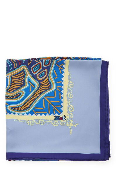 Purple & Multicolor 'Legende Kuna Peuple de Panama' Silk Scarf 90, , large
