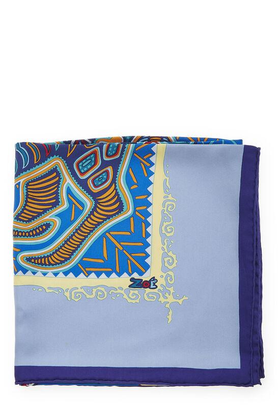 Purple & Multicolor 'Legende Kuna Peuple de Panama' Silk Scarf 90, , large image number 1