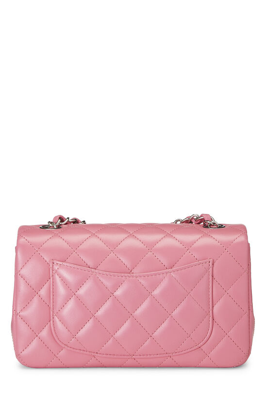 Pink Quilted Lambskin Rectangular Flap Mini, , large image number 3