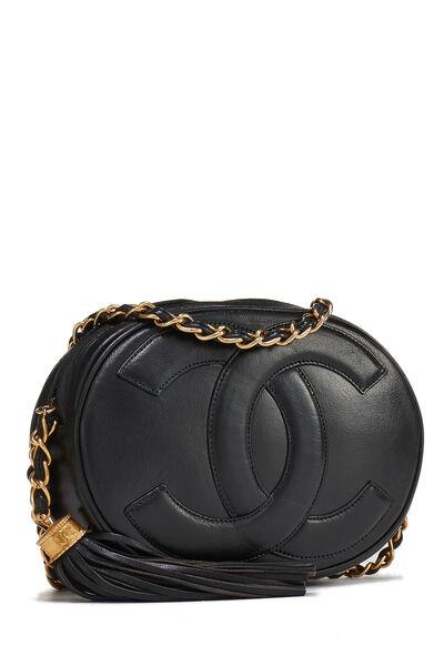 Black Lambskin 'CC' Oval Shoulder Bag, , large