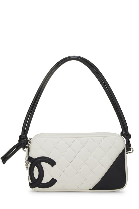 White Quilted Calfskin Cambon Ligne Pochette, , large image number 0