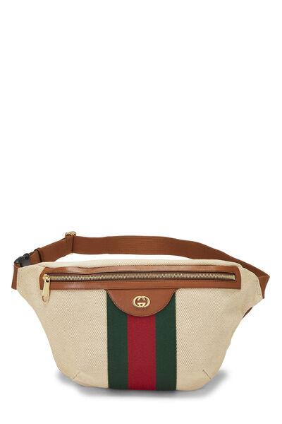 Beige Canvas Web Belt Bag