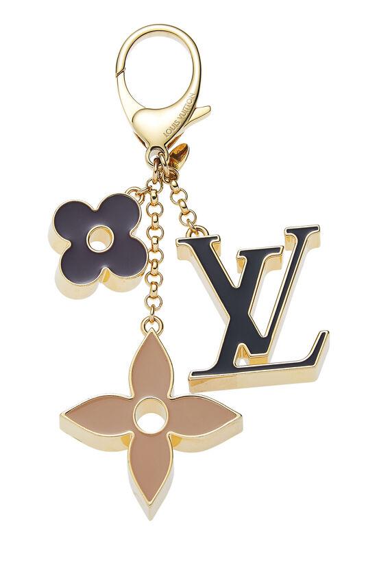 Black & Gold Fleur De Monogram Bag Charm, , large image number 0