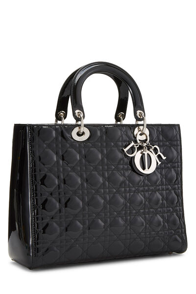 Black Cannage Quilted Patent Lady Dior Large, , large