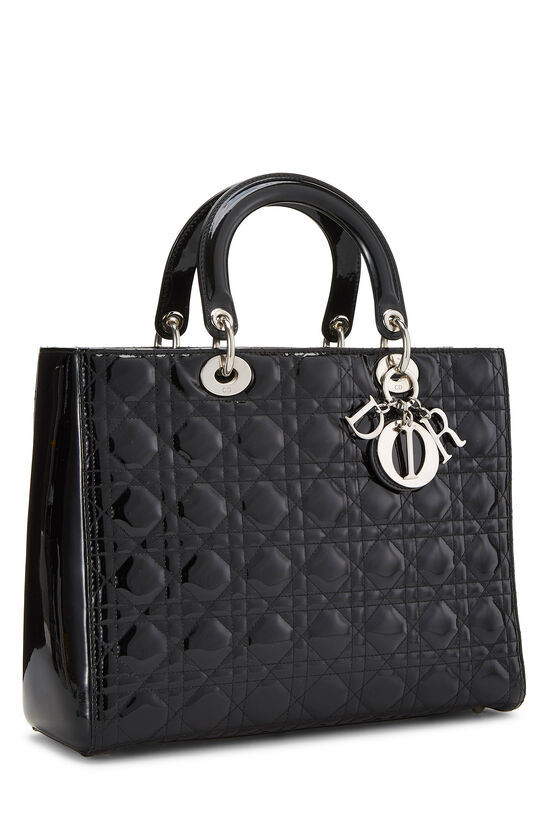 Black Cannage Quilted Patent Lady Dior Large, , large image number 1