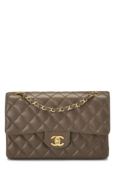 Brown Quilted Lambskin Classic Double Flap Small