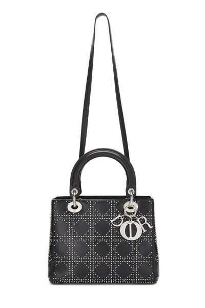 Black Cannage Studded Lambskin Lady Dior Medium, , large