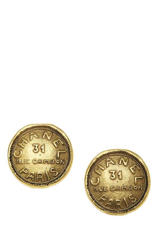 Gold Rue Cambon Engraved Earrings, , large image number 0
