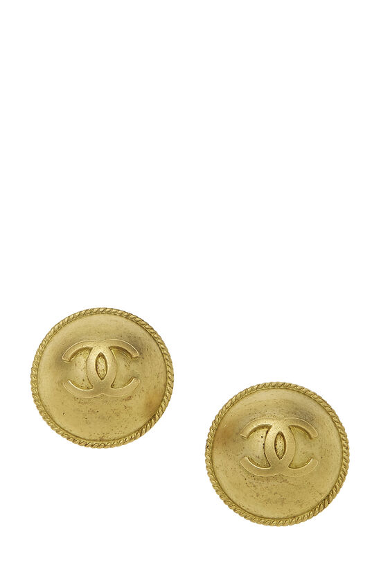 Gold Engraved 'CC' Round Earrings, , large image number 0