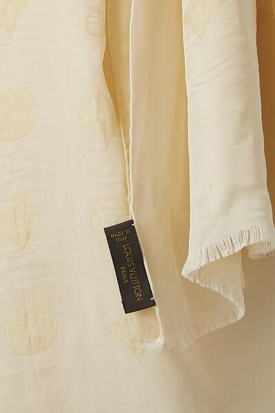 Cream Monogram Silk Scarf, , large