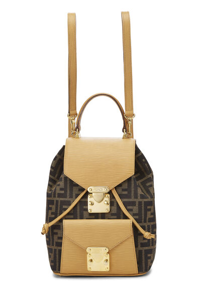 Tan & Brown Zucca Canvas Convertible Backpack Small