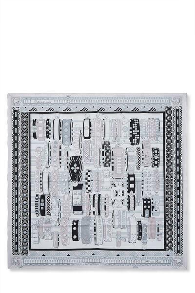 White & Multicolor 'Colliers de Chiens' Silk Scarf 90