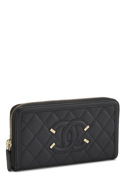 Black Quilted Caviar Filigree Zippy Wallet, , large