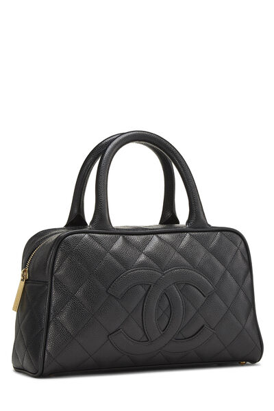 Black Quilted Caviar Bowler Mini, , large