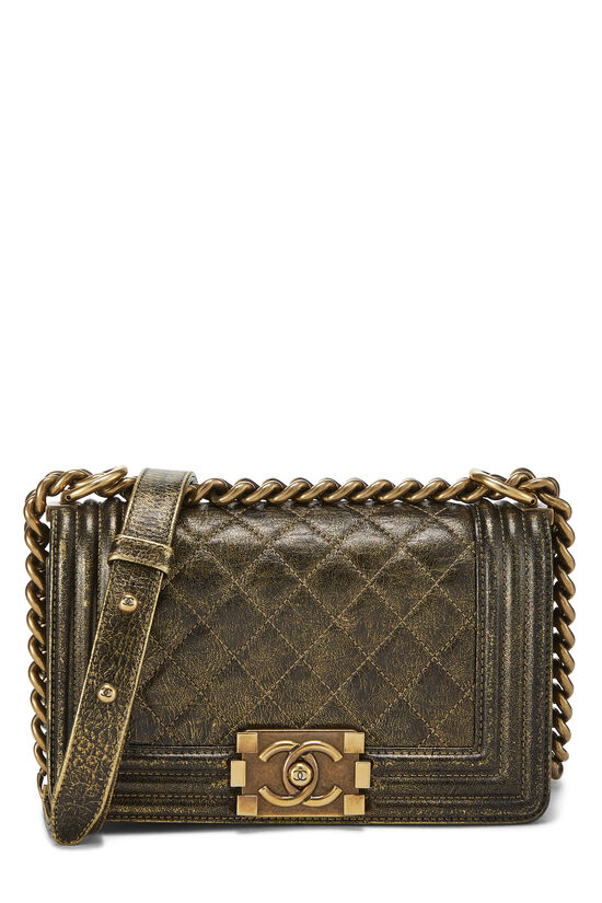 Metallic Brown Quilted Calfskin Boy Bag Small, , large image number 0