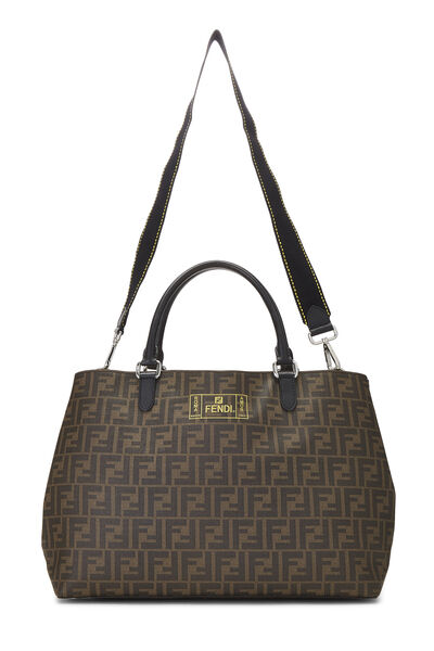 Brown Zucca Coated Canvas Roma Shopping Tote, , large