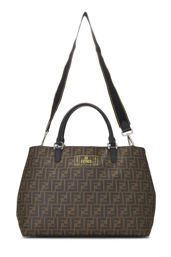 Brown Zucca Coated Canvas Roma Shopping Tote, , large image number 1