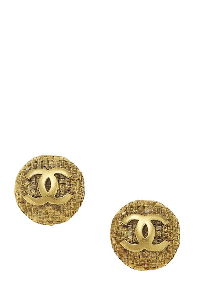 Gold Woven 'CC' Round Earrings