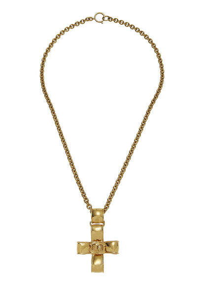 Gold Ribbon Cross Necklace